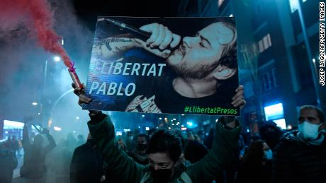 The protesters marched with a picture of Hasel reading & quot;  Freedom to Pablo.  & quot;