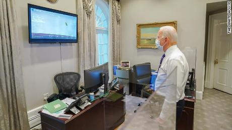 """Biden tweeted: """"Congratulations to NASA and everyone whose hard work made Perseverance's historic landing possible. Today proved once again that with the power of science and American ingenuity, nothing is beyond the realm of possibility."""""""