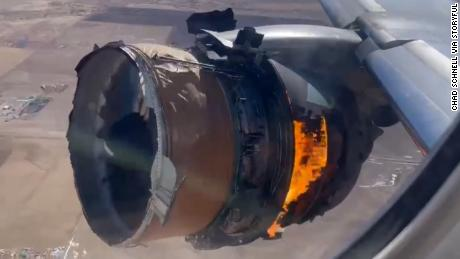 Video shows United Airlines plane engine on fire after takeoff from Denver