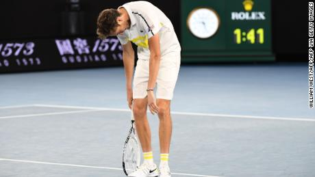 Daniil Medvedev crumbled after losing the opening set.