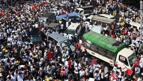 On 22 February, demonstrators gathered in Yangon to protest against the military coup.