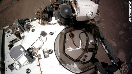 The navigation cameras aboard NASA's Perseverance rover captured this view of the rover's deck on Saturday, February 20.