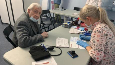 Vadim Svistunov, 84, received both the initial vaccination and the booster at an opera house.