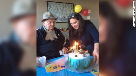 Nadia Sbaihi celebrates her grandfather Rodrigue Quesnel's 93rd birthday.