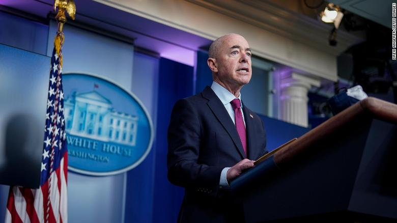 Secretary of Homeland Security Alejandro Mayorkas speaks during the daily press briefing at the White House on March 1, 2021, in Washington.