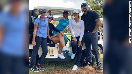 Professional golfers Sierra Sims, Shasta Averyhardt, Mariah Stackhouse and Cheyenne Woods and Yankees midfielder Aaron Hicks, from Shasta Averyhardt's Instagram.