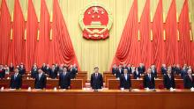 President Xi Jinping and the Politburo Standing Committee attend a grand gathering to mark the nation's poverty alleviation accomplishments at the Great Hall of the People in Beijing, capital of China, on February 25.