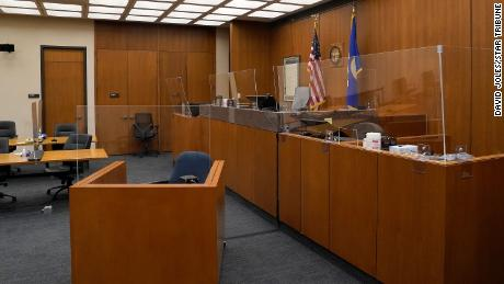 Plexiglass barriers to limit the spread of Covid-19 have been installed in the courtroom at the Hennepin County Government Center.