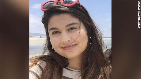 Kate Sagara, 23, was vaccinated for Covid-19 in San Diego, California because she is a childcare worker.