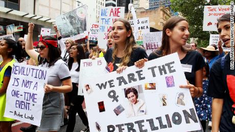 "Protesters walked through Sydney in 2019 for the ""Women's Wave"" march, but many say not enough has been done to address inequality and sexual assault."