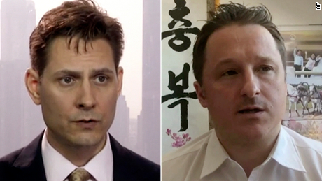 """Beijing claims that Kovrig (right), was """"stealing sensitive information and intelligence through contacts in China since 2017,"""" while Spavor, is accused of providing intelligence to Kovrig."""