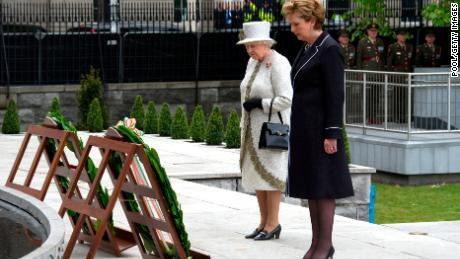 Queen Elizabeth and the then Irish President Mary Macleay made a wreath at the Garden of Remembrance during their historic visit to Ireland in 2011.