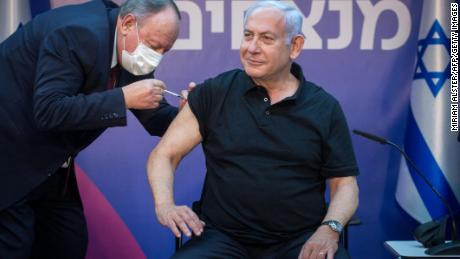 Netanyahu receives his second Covid-19 shot at in Tel Aviv on January 9.