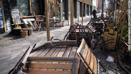 A closed restaurant in Berlin on Monday, as the country continues a long lockdown.
