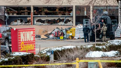 Tactical police units respond to the scene of a King Soopers grocery store in Boulder, Colorado, after a shooting on Monday, March 22.