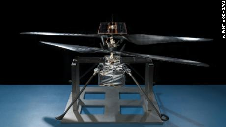 This image shows the flight model of Ingenuity in a clean room at JPL in February 2019.
