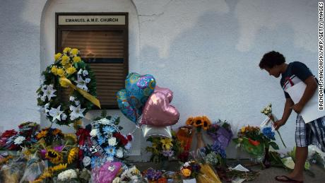 A makeshift memorial honored those killed at Emanuel African Methodist Episcopal Church in 2015.