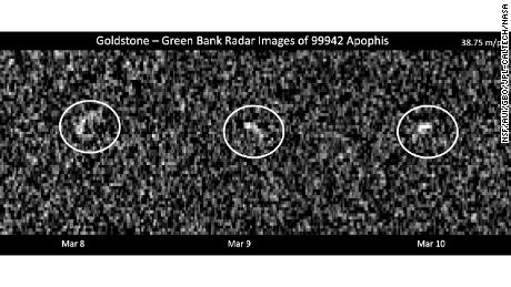 These images show radar observations of the asteroid Apophis on March 8, 9, and 10, 2021, when it made its last approach to Earth until 2029.