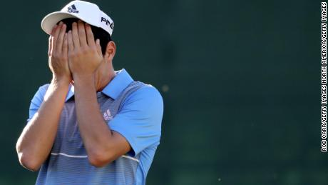 Niemann reacts after winning the Greenbrier Classic, his first PGA Tour win.