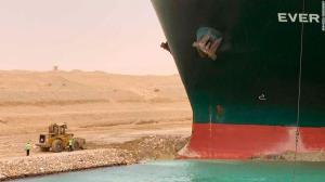Container ship trapped in the Suez Canal