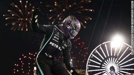 Lewis Hamilton celebrates after winning the Bahrain GP.