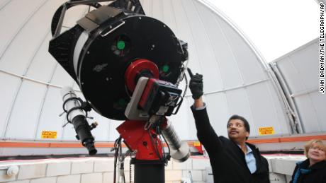Tyson talked about the telescope in the observatory dedicated in 2011 at Southern Illinois University in Edwardsville.