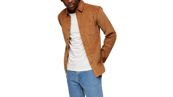 Topman Solid Corduroy Button-Up Shirt
