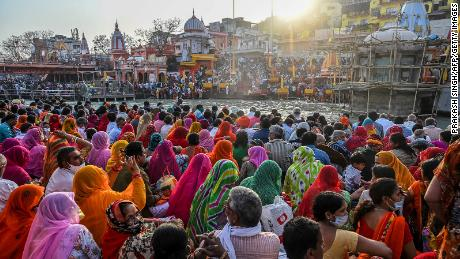Hindu devotees gather for evening prayers  during the ongoing religious Kumbh Mela festival in Haridwar.