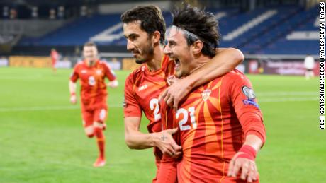 Eljif Elmas celebrates after scoring to beat Germany in the World Cup qualifying campaign.