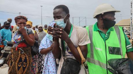 An internally displaced man gestures as he arrives in Pemba on April 1, 2021.