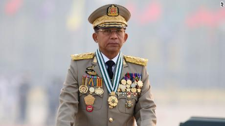 Myanmar's Commander-in-Chief Senior General Min Aung Hlaing on Armed Forces Day in Naypyitaw, Myanmar, on March 27.