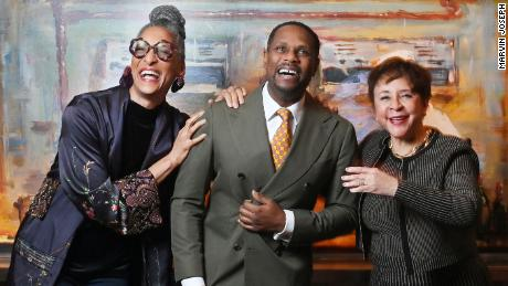 """Salamander Hotel & Resorts owner and CEO Sheila Johnson, right, stands with """"Grace"""" musical composer and playwright Nolan Williams Jr., center, and celebrity chef Carla Hall, left in December 2020."""