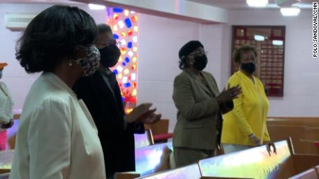 A smaller crowd united in-person at Detroit's Greater New Mount Moriah Missionary Baptist Church for Easter Sunday service this year due to the pandemic.