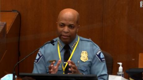 Minneapolis Police Chief Medaria Arradondo testifies on April 5.