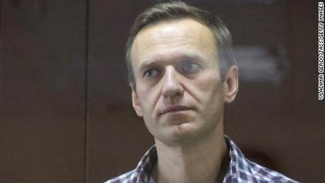 Navalny pictured during a court hearing in February.