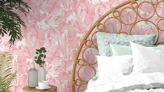 Tempaper Pink Lemonade Tropical Peel-and-Stick Wallpaper