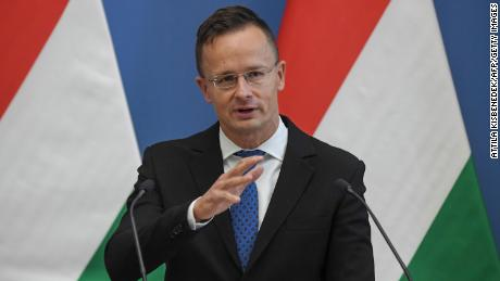 Hungary's Foreign and Trade Minister Peter Szijjarto speaks during a joint press conference in 2020.