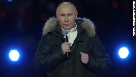 Russian President Vladimir Putin during a concert in Moscow marking the seventh anniversary of the Crimea annexation, on March 18.