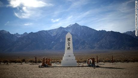 A monument stands in the cemetery at Manzanar National Historic Site in California.