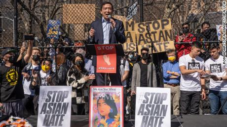 Yang speak during a March 16, 2021, rally against hate in Columbus Park in the Chinatown neighbourhood of Manhattan in New York City.