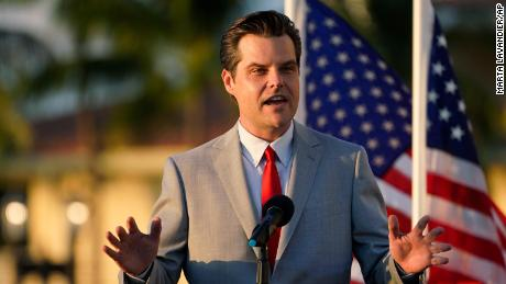 "Congressman Matt Gaetz, R-Fla., speaks at a ""Women for American First"" event  Friday, April 9, 2021, in Doral, Florida."