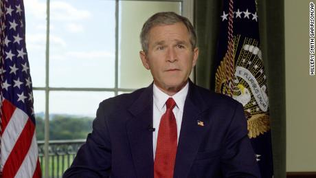President Bush in the Treaty Room of the White House, October 7, 2001, after announcing airstrikes on on Afghanistan.