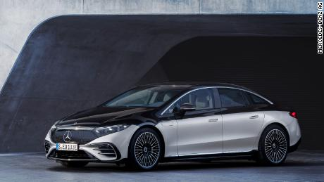 """The front """"grille"""" of the Mercedes EQS is actually a solid dark panel with a pattern of three-dimensional three-pointed stars."""