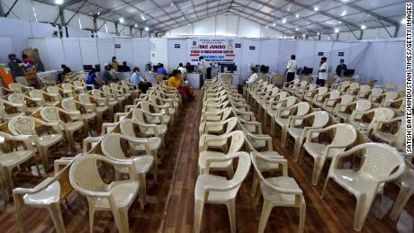 A vaccination center in Mumbai, India, that had to turn people away due to a shortage of vaccines on April 9.