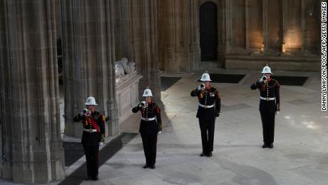 """The end of the funeral was marked by the Buglers of the Royal Marines sounding """"Action Stations,"""" an announcement that would traditionally be made on a naval warship to signify that all hands should go to battle stations."""