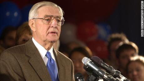 Former U.S. Vice President Walter Mondale concedes the election to his Republican opponent Norm Coleman November 6, 2002, in St. Paul, Minnesota.