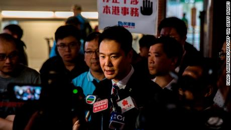 Holden Chow speaks to the media after a protest in Hong Kong on May 28, 2019, in this file photograph.