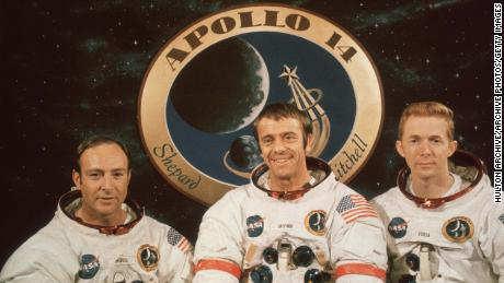 Apollo 14 astronauts pose for a group portrait at a pre-launch news conference at the Kennedy Space Center in Cape Canaveral, Florida.  From left to right: Edgar J Mitchell, Alan B Shepard and Stuart A Roosa.