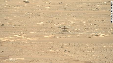 This image of Ingenuity, captured by the rover's Right Mastcam-Z camera, shows the helicopter safely sitting on the surface of Mars.