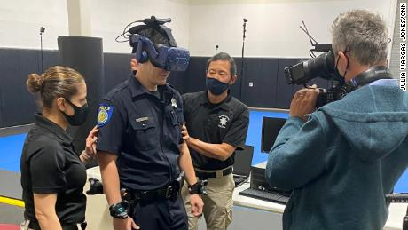 Sacramento Police Department officers experience real-life police encounters adapted for virtual reality training.